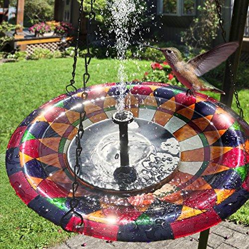 TOMONOLO Solar Bird Bath Fountain Pump, 1.4W Solar Powered Fountain Free Standing Solar Panel Kit Water Pump Outdoor Submersible Pump for Pond, Pool, Garden