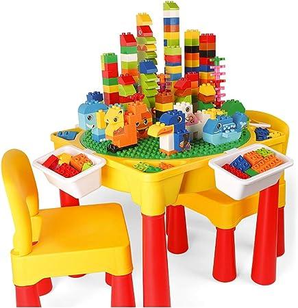 Mesa de Juego Mesa De Juego para Niños Mesa De Construcción Multifunción Juguetes De Montaje Juguetes Educativos Mesa De Estudio Mejor Regalo (Color : Color, Size : 45 * 45 * 43cm): Amazon.es: Hogar