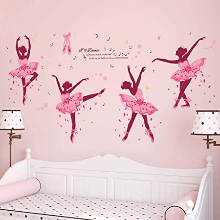 iwallsticker Creative Dancing Girl Wall Sticker Pink Ballet Girl ...