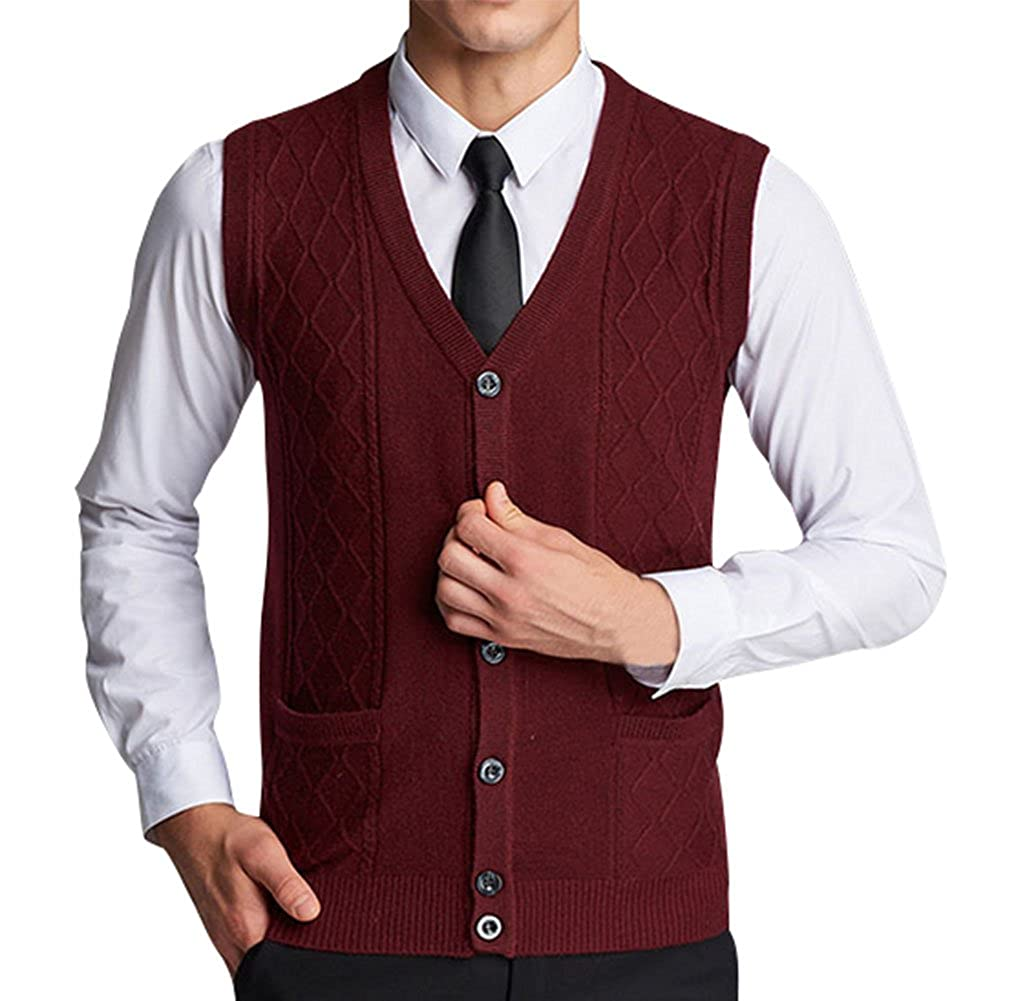 Lyamazing Men's Solid Color Argyle Pattern Button Down Sweater Vest with Pockets