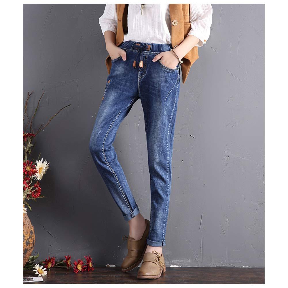 DAZISEN Jeans Vita Alta con Cintura Elastica Donna Boyfriend Vintage Harem Pantaloni Baggy Casual Ragazza