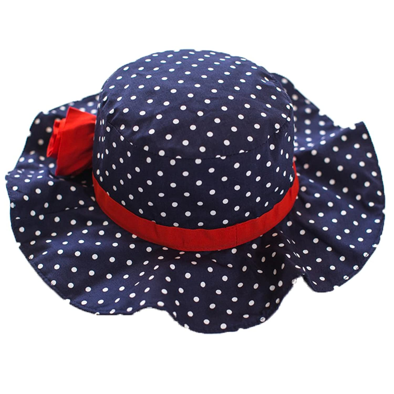 c3bf1118dfc Cute Girls Flower Sun Hats Bucket Hat with Big Fold-up Brim Blue ...
