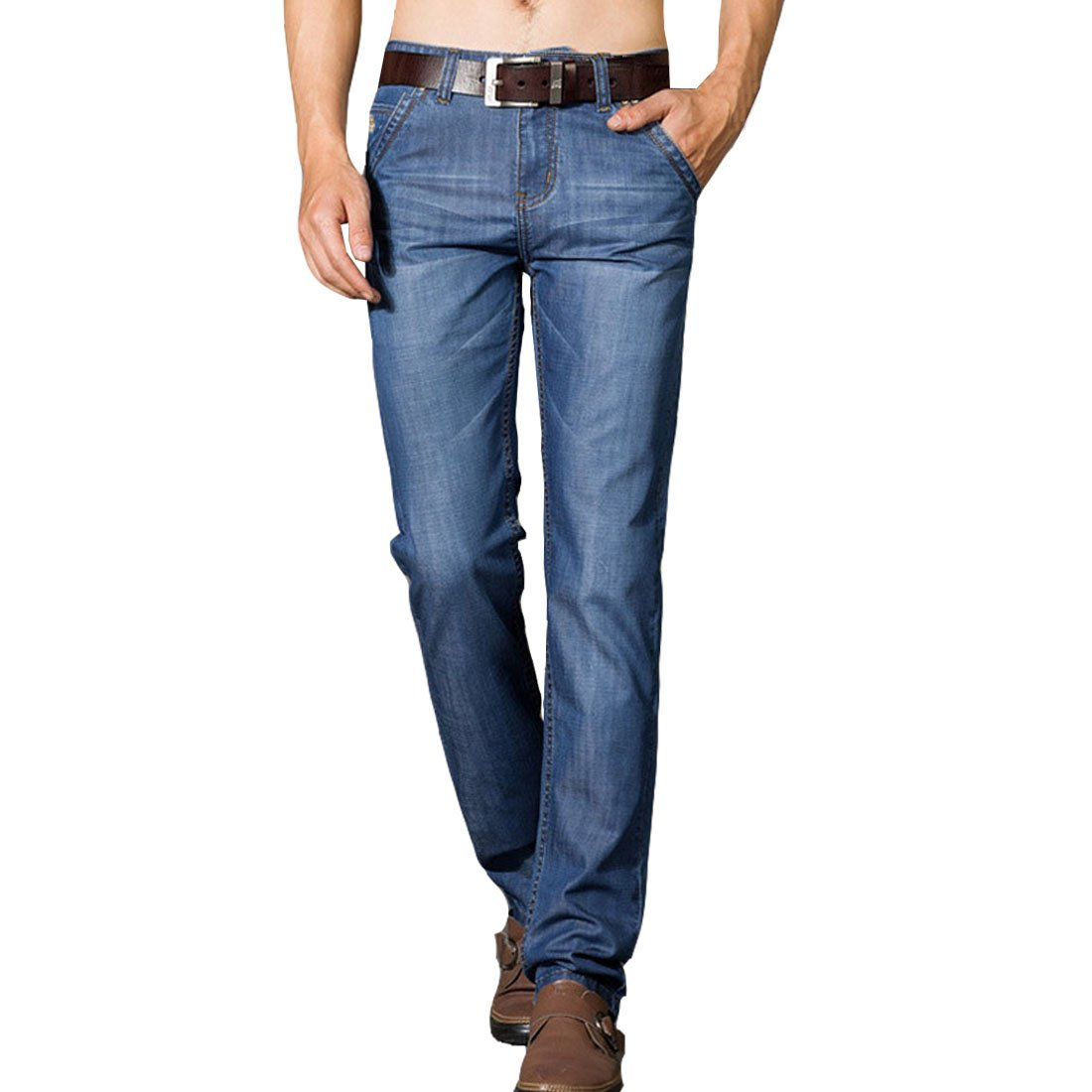 Hzcx Fashion Regular Straight Fit Elastic Lightweight Classic Jeans for Men 2018032202-65-T8001-US 34 TAG 35