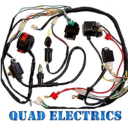 full electrics wiring harness cdi coil 110cc 125cc atv quad bike chinese  buggy gokart taotao jetmoto roketa, electrical - amazon canada