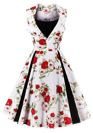 e2b76d24174ee Misseurous Women's Vintage Classy Floral 1950s Audrey Hepburn Tea Swing  Midi Dress (XXXL, A
