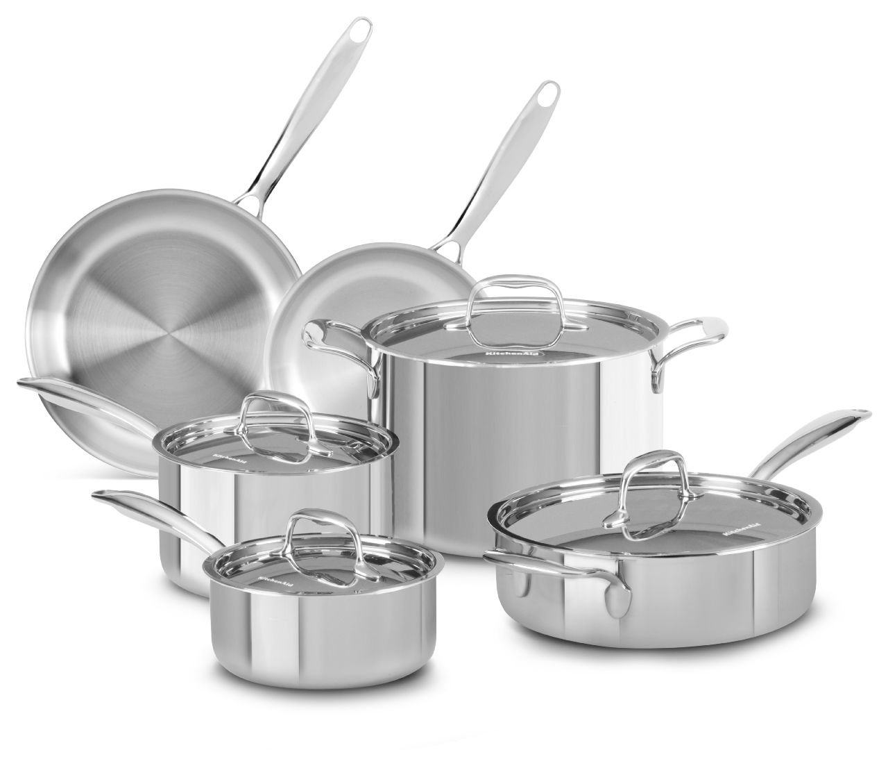 Amazon.com: KitchenAid KCTS10SLST Tri-Ply Stainless Steel 10-Piece ...