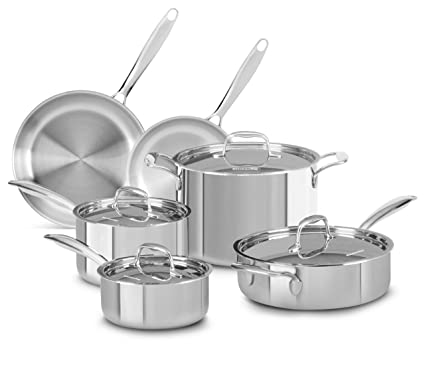 kitchenaid pots and pans modern kitchen kitchenaid kcts10slst triply stainless steel 10piece cookware set amazoncom
