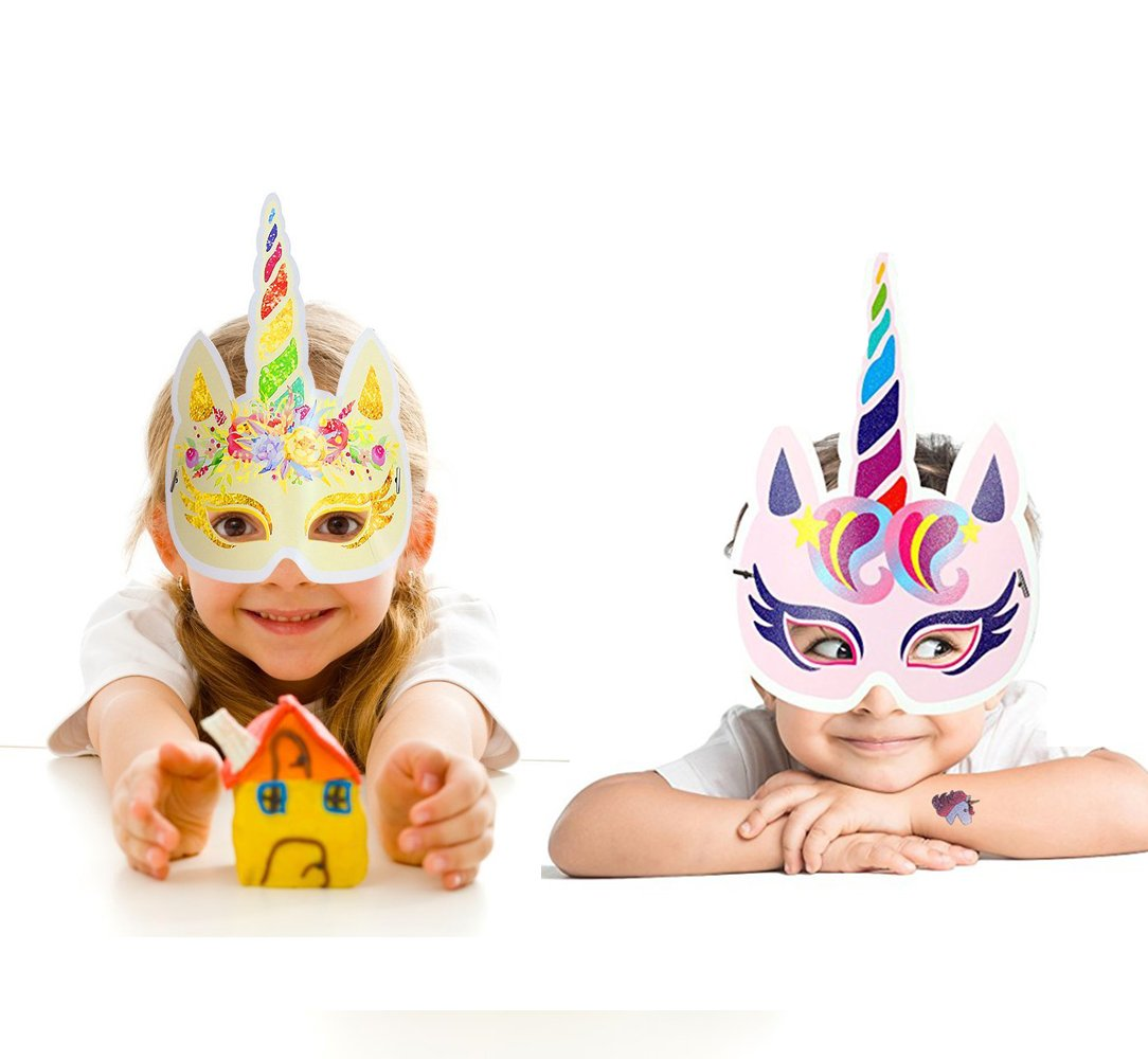 Lemoncy 12 Pack Rainbow Paper Masks Kids Birthday Masks Party Hat Eye Masks for Themed Party Favors 4