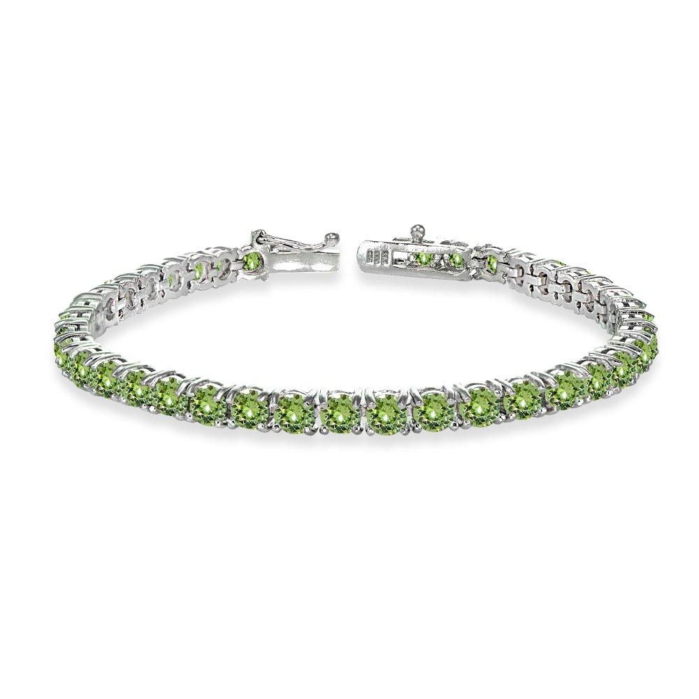 GemStar USA Sterling Silver Light Green 4mm Round-cut Classic Bracelet Made with Swarovski Crystals