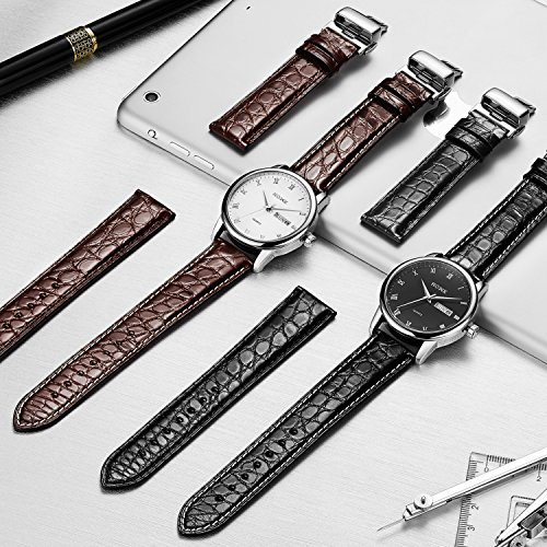 EHHE ZPF Alligator Replacement Leather Watch Band With Deployment Buckle for Men and Women(18mm,19mm,20mm,21mm,22mm,23mm or 24mm) by EHHE ZPF (Image #3)