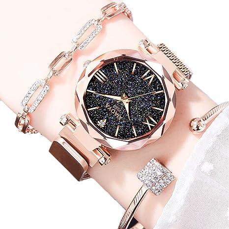 EJOLG Reloj Mujer Moda, Hay luz de Noche, Forma de Diamante