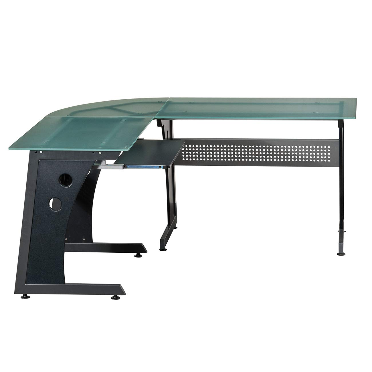 Techni Mobili Deluxe Tempered Frosted Glass L Shaped Corner Desk With Pull Out Keyboard, Graphite