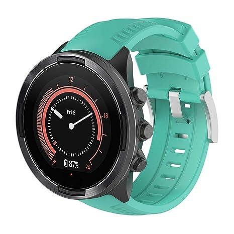 KOBWA Bracelet de Montre Suunto 9, Coque en Silicone de Remplacement Watchbands Sangles de Poignet Suunto 9 Smart Montre de Sport, Green: Amazon.fr: Sports ...