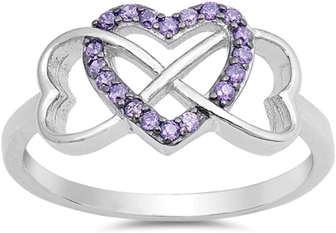 Blue Apple Co. Infinity Heart Promise Ring Round Simulated Amethyst Round CZ 925 Sterling Silver