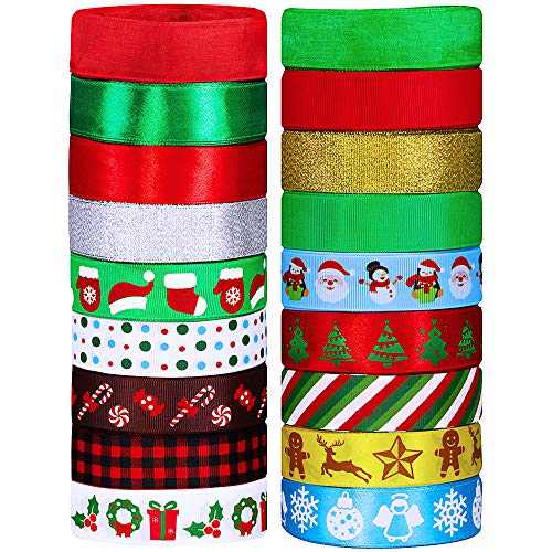 "18 Rolls 90 Yards Christmas Ribbons Holiday Printed Grosgrain Organza Satin Ribbons Metallic Glitter Fabric Ribbons Bulk Gift Wrapping Bow Craft 1"" Wide for Xmas Winter Season Festival Decor"