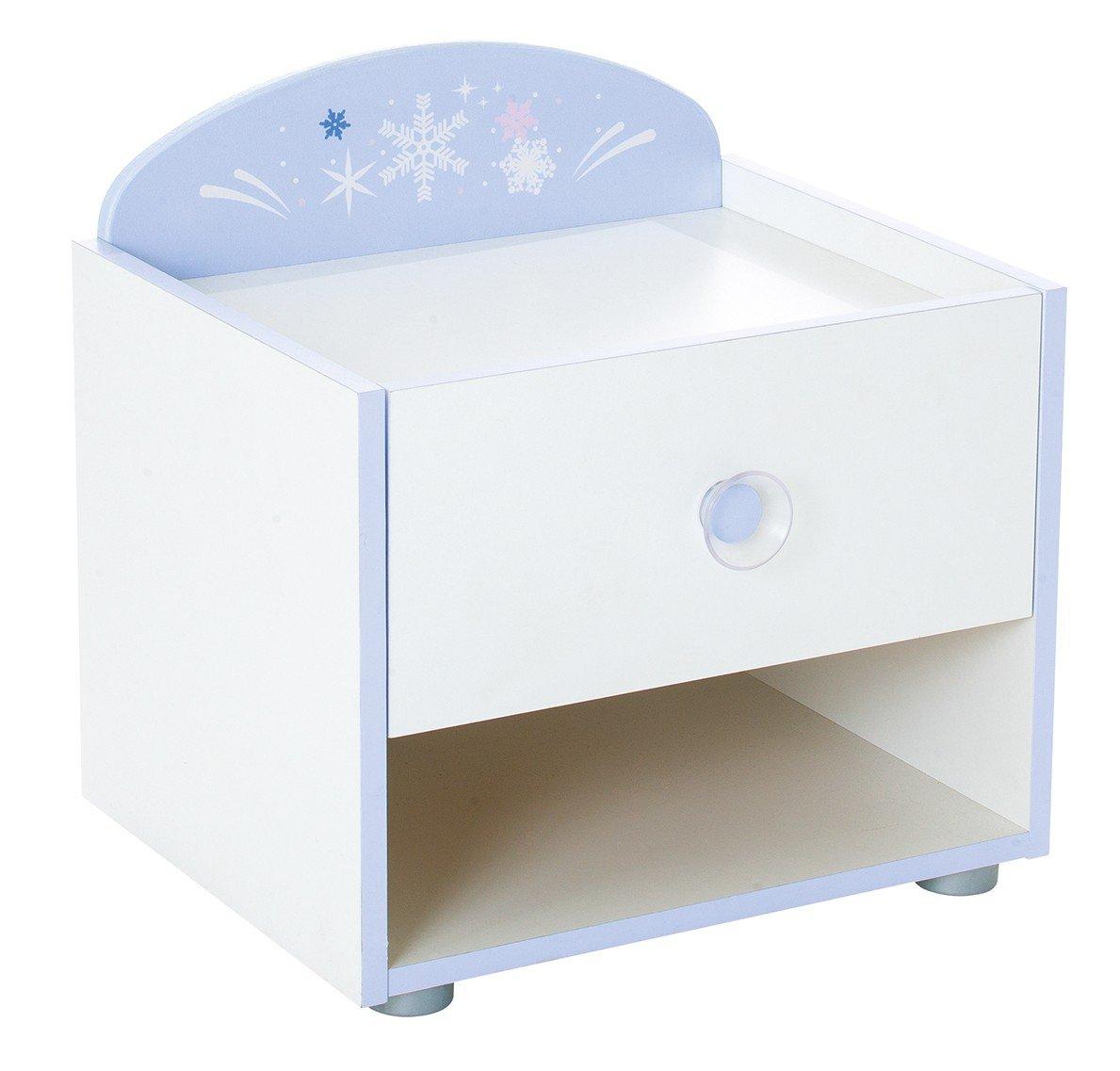 Jugendmöbel24  Nachtkommode weiß Blau Nachttisch Nachtkonsole Nachtkästchen Abladetisch Kinderzimmer Beistellschrank Beistelltisch Nachtschrank