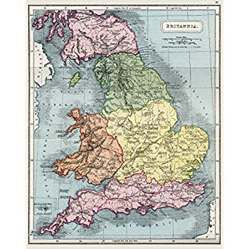 Amazoncom BRITAIN MAP ENGLAND LARGE WALL ART PRINT POSTER PICTURE