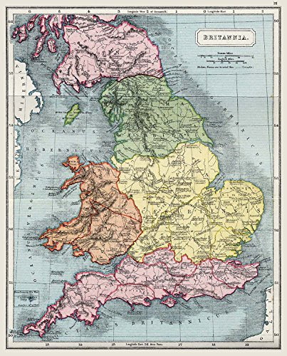Britain Map England Large Wall Art Print Poster Picture