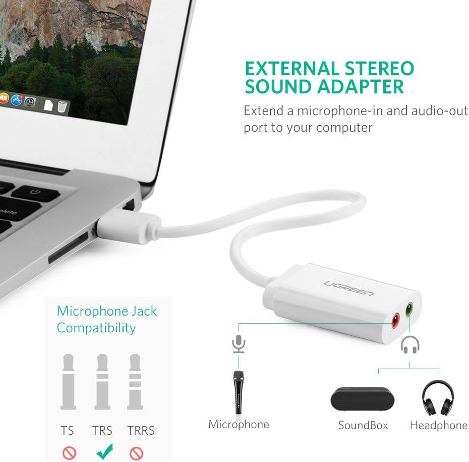 UGREEN Tarjeta de Sonido USB, Tarjeta de Sonido Externa Adaptador Audio y Micrófono 3.5mm, Conector Jack USB Plug y Plag para PC, Laptop, Raspberry pi 3, PS4, Altavoces Estéreo, Auriculares (Blanco): Amazon.es: