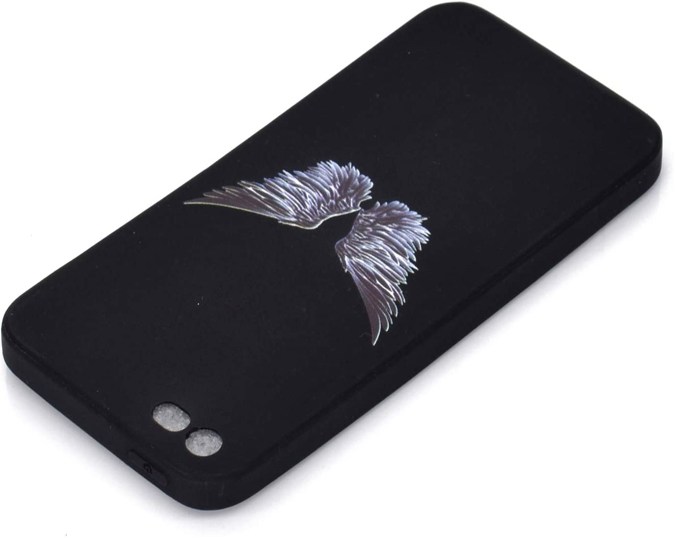 Girlyard Silicone Black Case for iPhone 6 Plus with Screen Protector,Slim Fit Rubber Gel Shock-Absorption Bumper Soft TPU Phone Case Creative Unique Design Back Cover for iPhone 6S Plus