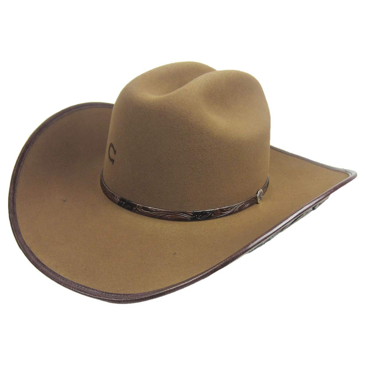 34b9661d4 Charlie 1 Horse Cut Above Leather Tooled Felt Western Cowgirl Hat (7 ...