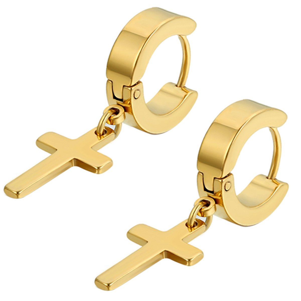 Flongo Men's Womens Vintage Stainless Steel Gold Cross Dangle Hinged Hoop Earrings, Stainless Steel Hoop Huggie Earrings Cross Drop Dangle Earrings