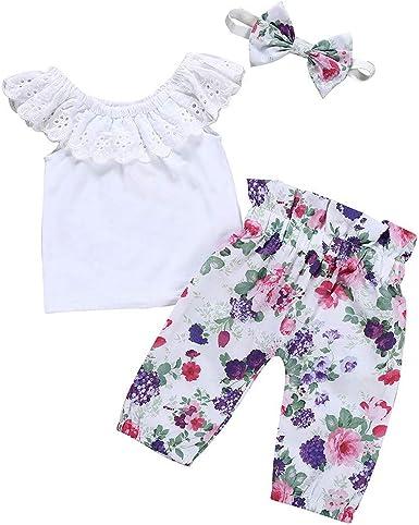Ropa Bebe Niña Veran Fossen 0-18 Meses Recien Nacido 0-18 Meses Camiseta con Volantes + Pantalones de Florales + Diadema