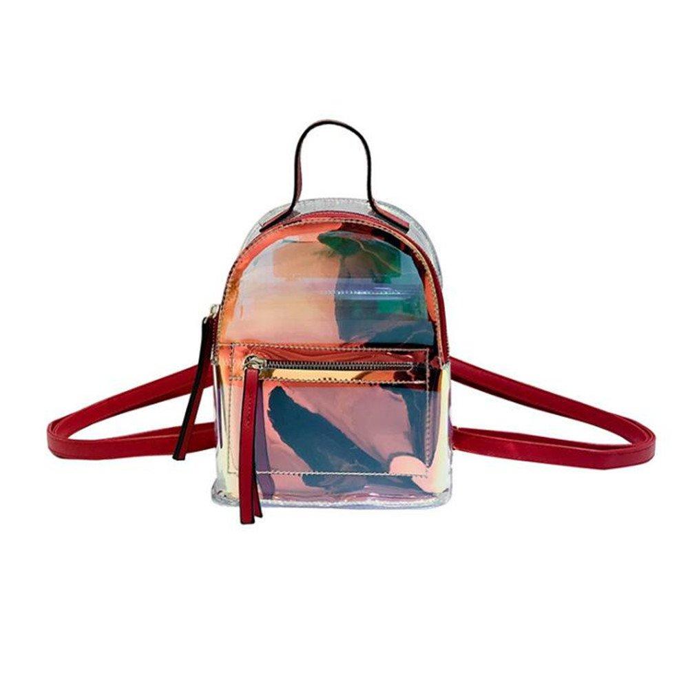 Santwo Women's Mini Rivets Waterproof PU Leather Shoulder Bag Casual Daypack Backpack (D-red(Transparent Laser PVC Backpack))