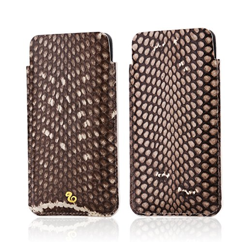 Handmade Snake Leather Sleeve Pouch Cover Vintage-Stitch Leather Case for iPhone X (Snake Edition - Primary (Handmade Snake)