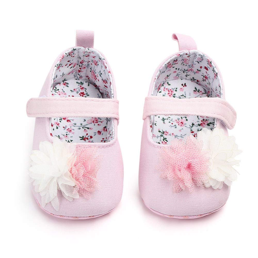 NUWFOR Newborn Baby Cute Girls Canvas Flower Single First Walker Soft Sole Shoes(Pink,12-15Months) by NUWFOR (Image #2)