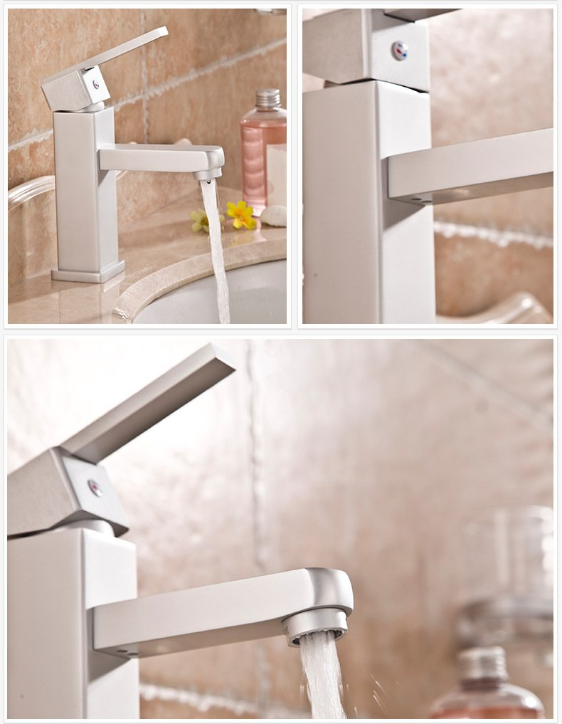 Furesnts Modern home kitchen and Bathroom Sink Taps On the new space aluminum WashBasin Taps single hole of the Quartet and cold water Basin Mixer Bathroom Sink Taps,(Standard G 1/2 universal hose ports)