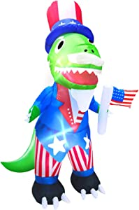AMENON Dinosaur Inflatable for 4th of July Party Yard Decorations 4 Ft Uncle Sam Dino with American Flag Blow Up Patriotic Decor LED Lighted Indoor Outdoor Holiday Independence Day Yard Lawn