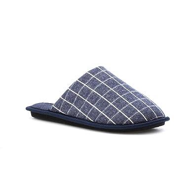 The Slipper Company - Pantufla a cuadros, azul marino, para hombre - Talla 10 UK / 44.5 EU - Azul
