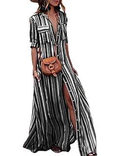 3e64def0b4041 Calladream Women Striped Dress Collar Button Down Hidden Pockets Slim Long  Maxi Dress