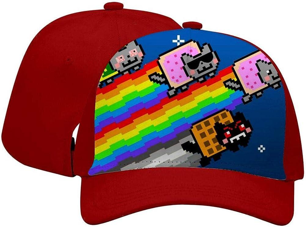 BEKAI Unisex Rainbow Fly N-y-a-n Cat Adjustable Brimbill Flats Hat for Mens//Womens Hip Hop Caps