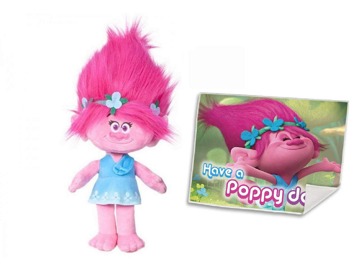 Trolls Poppy DreamWorks Adorable Vibrant Poppy Plush Toy (36cm/14) with Free Face Towel by DREAMWORKS TROLLS