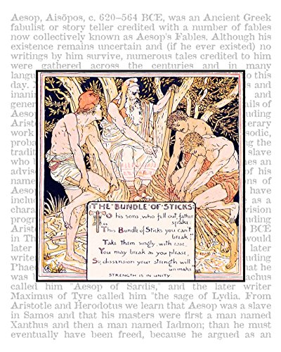 Bundle of Sticks, 8x10 inch Aesop's Fables Fine Art Print on Encyclopedic Text, From the Book The Baby's Own Aesop, 1908. Nursery Room Decor. Victorian Era. Size: 8x10 inches