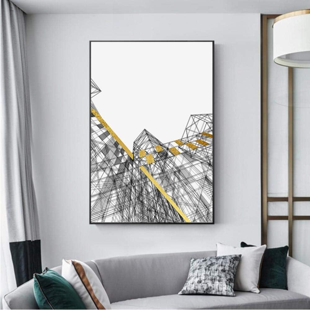 Cartel Líneas de construcción Colores dorados negros Pintura de lienzo Cuadros de arte de pared para sala de estar Impresión de lienzo Pintura nórdica 20X27 pulgadas (50X70 cm) G