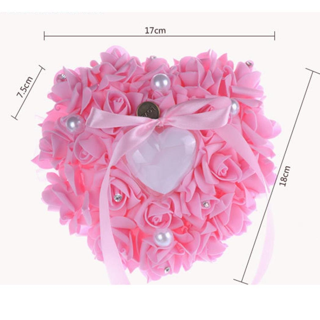EKIMI Jewelry Box Wedding Ring Pillow Heart Box With Ribbon Pearl ...
