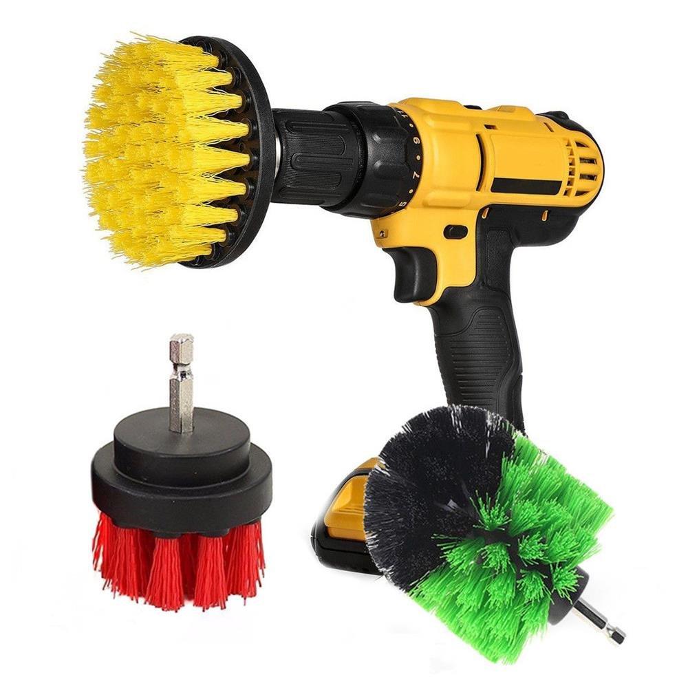 Kamas 3Pcs 2/3.5/5 Inch Drill Cleaning Brush Kit Bristle Scrubber Bathtub Carpet Brush for Electric Drill