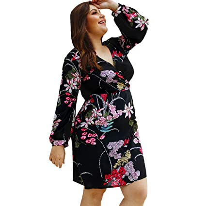 9f3a34015135 Gallant E Women s Summer Casual Sexy Plus Size Dress Womens V-Neck Floral  Print Long Sleeve Mini Dresses Keen Length A-Line Ladies Summer Holiday  Sundress