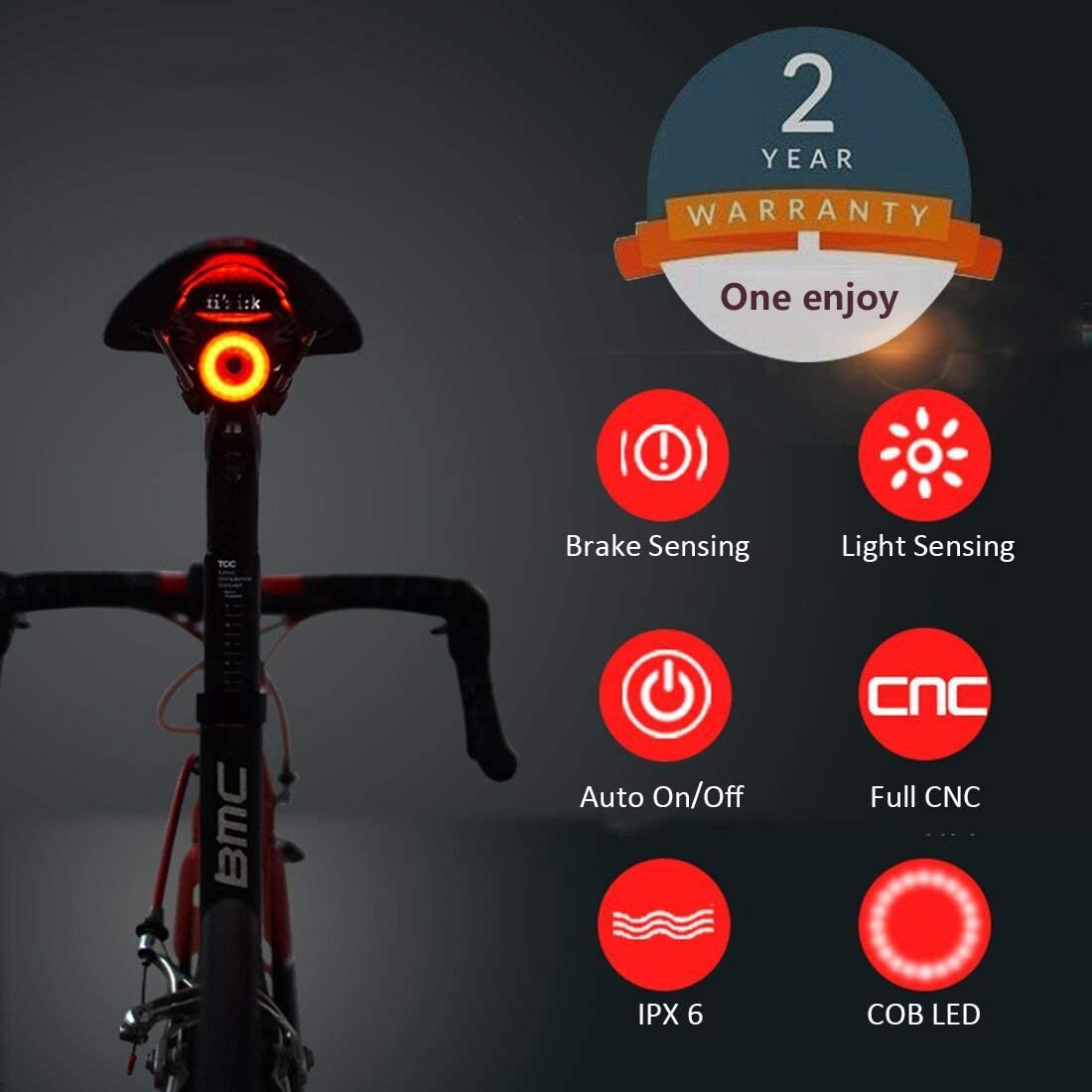 Smart Bike Tail Light Ultra Bright, Bike Light Rechargeable Auto On Off, IPX6 Waterproof LED Bicycle Lights, High Intensity Rear Accessories Fits Any Road Bikes