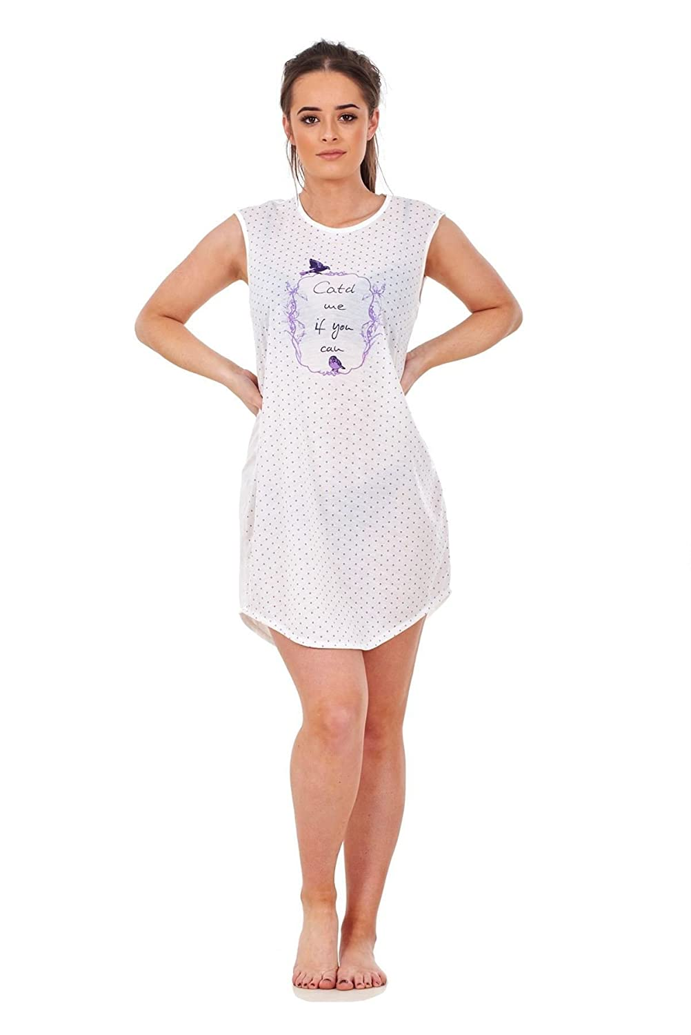 Ladies Nightwear Crew Neck Spotted Bird Print Sleeveless Jersey Nightie M  to XXL  Amazon.co.uk  Clothing d66e6d066