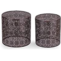 DecentHome Luxury Modern Accent Metal Side End Nesting Table Set of 2 (Black)