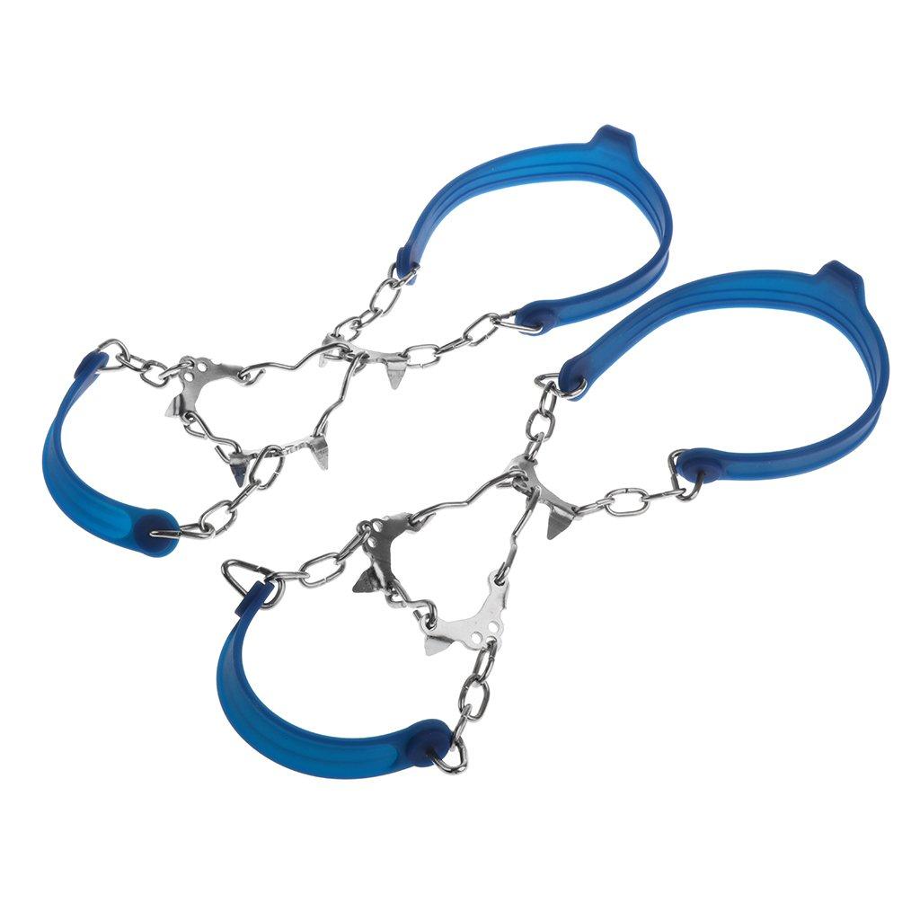 MagiDeal Crampons Traction 6 Dents Anti-dérapant Marche à Neige Accessoire Chaussures, Chaîne et Silicone Chaîne et Silicone - Orange 30 x 5cm