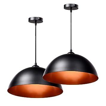 Schramm® 2 Stück Retro Hängeleuchte Hängelampe schwarz innen Gold  Deckenleuchte Lampe Vintage Lampen für Wohnzimmer Esszimmer Restaurant 2er  Pack