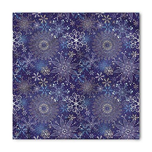 (Ambesonne Unisex Bandana, Dark Blue Snowflakes Xmas Art, Indigo White)