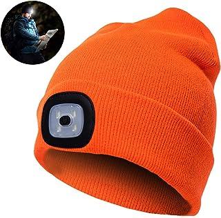 Beanie cap LED Luce Unisex Elettrica Cappello a Maglia per attività Esterna proiettore Campeggio Invernale Cappello Caldo Arancio DierCosy