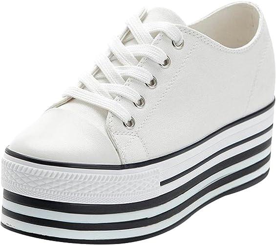 Jamron Mujer Suela Doble Plataforma Alta Zapatos de Lona Tacón de Cuña Baja con Cordones Enredaderas Zapatillas de Deporte de Moda