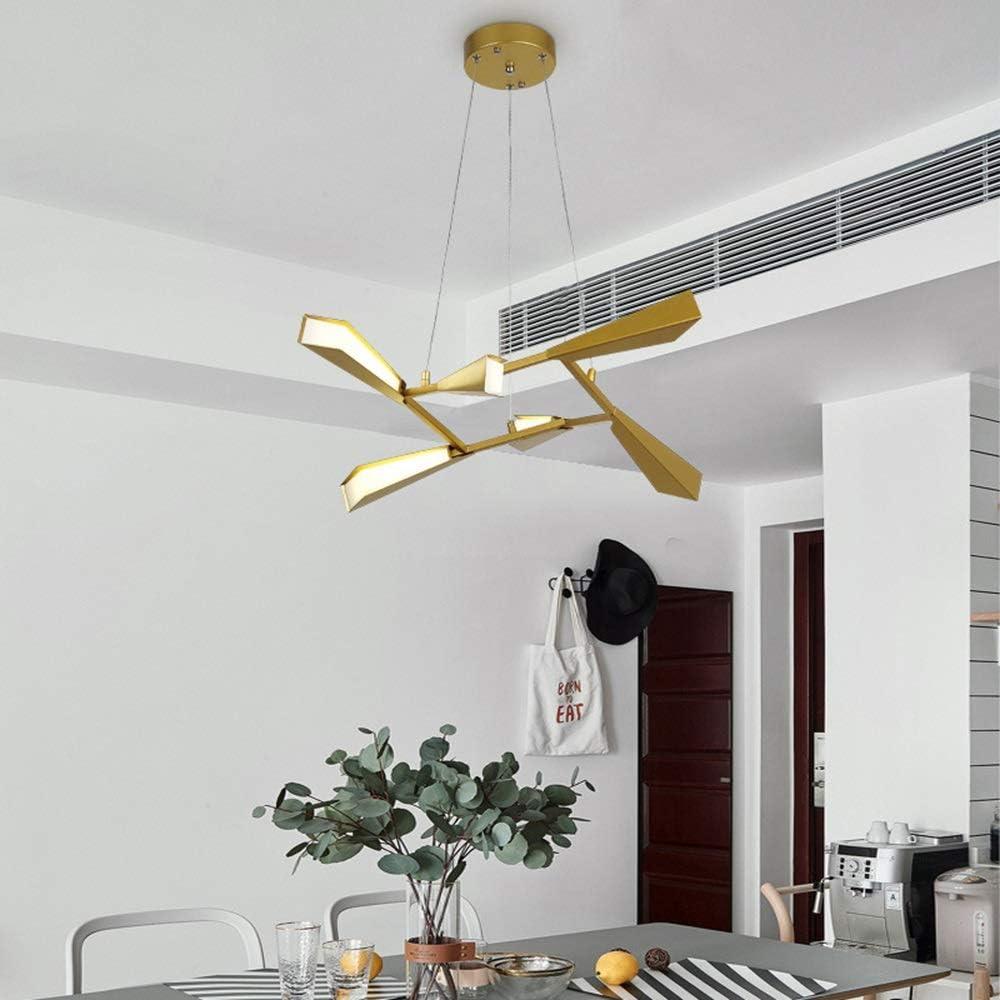 GAL Estilo Moderno De Leña Sala De Estar Dormitorio Comedor Estudio Lámpara Led De Oro 6 Fuente De Luz Hierro Arte Craft Luz De Techo 60x21cm Colgante De Luz